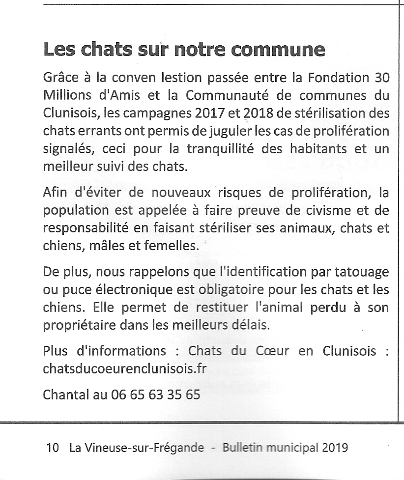 Article du bulletin municipal 2019 de La Vineuse sur Frégande